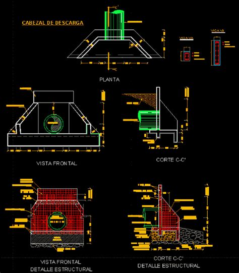 stormwater discharge pipe head dwg section  autocad