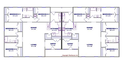 4 bedroom duplex floor plans 4 bedroom duplex house plan j0602 13d plansource inc