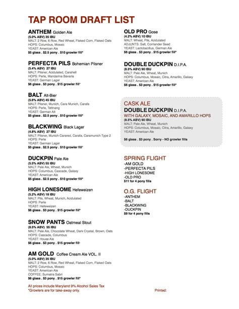 tap room menu union craft brewing tap room draft list as of 6 4 15 union craft brewing