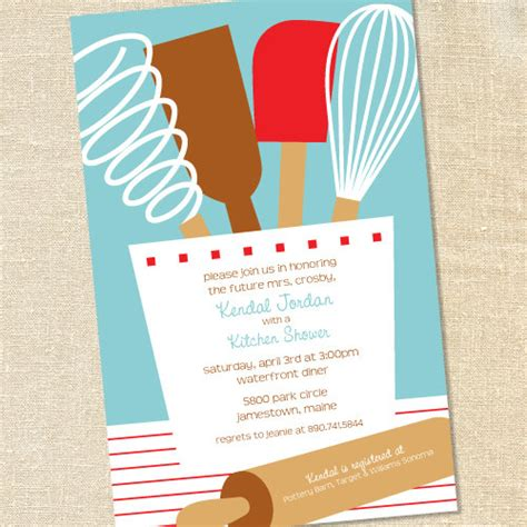 Kitchen Invitation Cards Templates by Kitchen Utensils In Blue For Bridal Showers