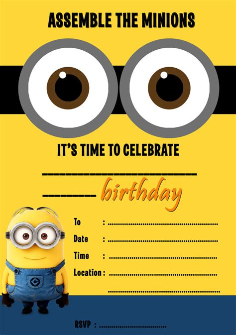 mi themes create despicable me minions party invitations kids children s