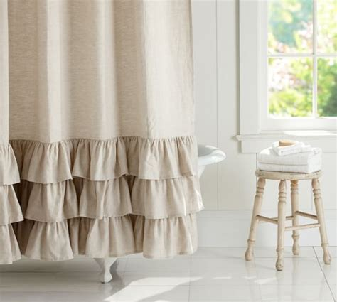 Linen Ruffle Shower Curtain Pottery Barn