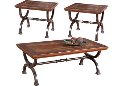brown 3 pc table set table sets wood