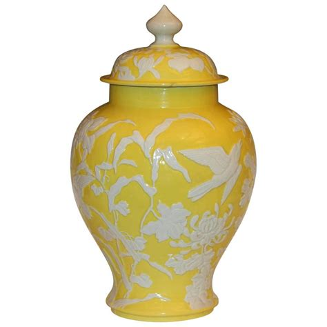 Antique Urns Vases by Antique Japanese Carved Studio Porcelain Yellow Covered