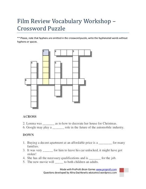 crossword puzzle review vocabulary workshop