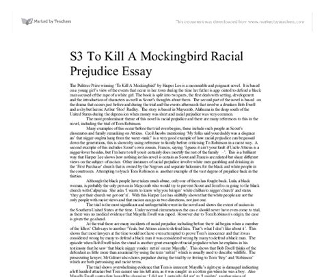 To Kill A Mocking Bird Essay by To Kill A Mockingbird Racial Prejudice Essay Reportd357 Web Fc2