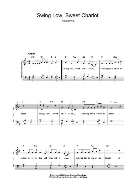 swing low sweet chariot guitar chords swing low sweet chariot sheet music direct