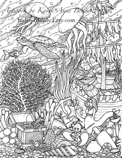 hard coloring pages ocean humming belles quot undersea coloring panel number three