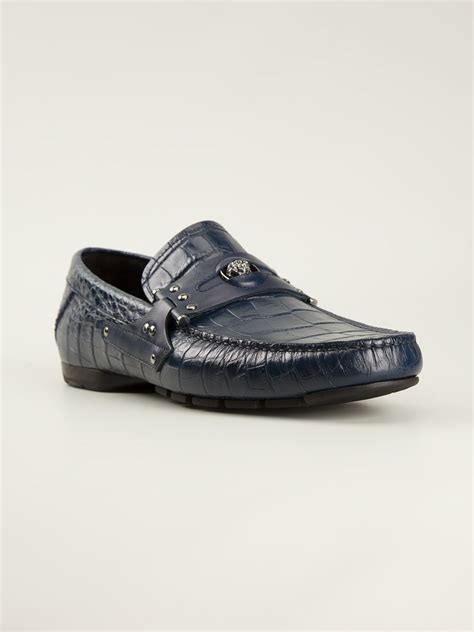 car slippers versace embossed cocco car shoe slippers in blue for