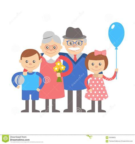 clipart nonni grandparents with grandchildren illustration on white