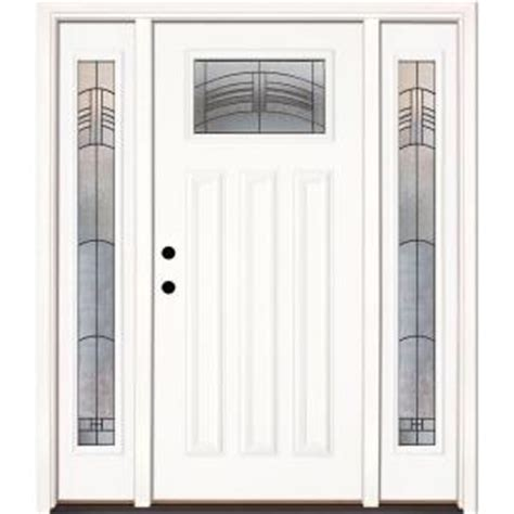 Home Depot Entry Doors With Sidelights by Feather River Doors 63 5 In X 81 625 In Rochester Patina Craftsman Unfinished Smooth Right