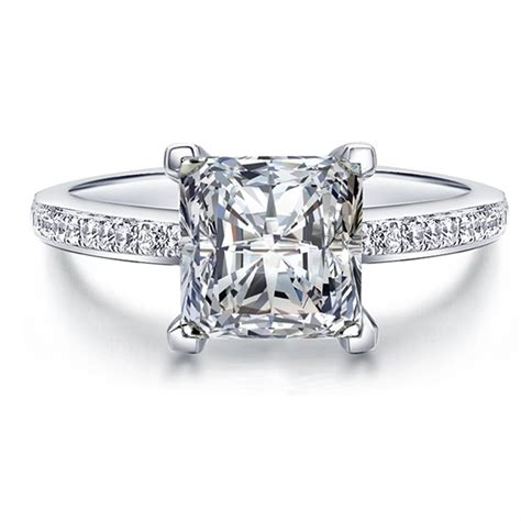 princess cut created solid real 925 sterling