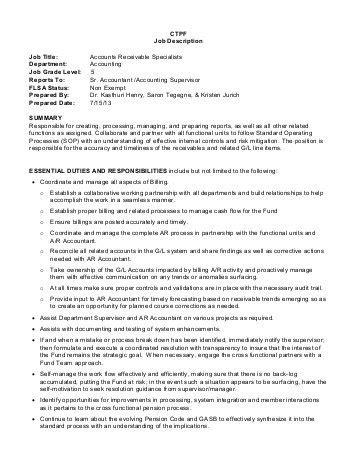 ctpf job description job title accounts receivable
