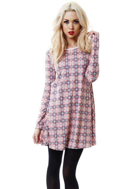 long sleeve tartan swing dress pink tartan swing dress pretty pink day dress nice day