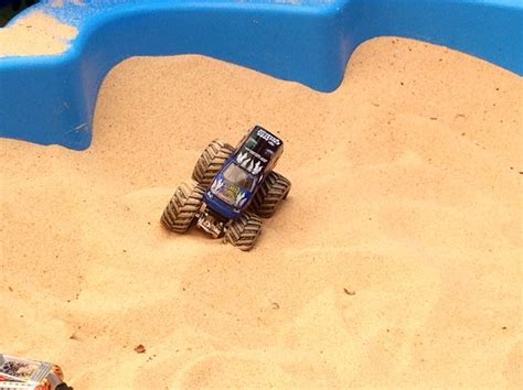 monster truck race track toys boy playing sand sandpit toy monster truck race racing track sandpit speedway track