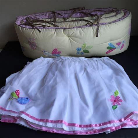 pink and yellow bedding pottery barn kids kelsey bird crib bumper skirt new pink