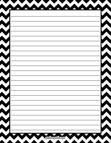 printable writing paper borders printable black chevron stationery and writing paper