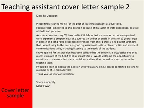 cover letter teaching assistant teaching assistant cover letter