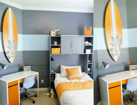 Impressionnant Idee Pour Petite Chambre #7: deco-chambre-enfant-theme-surf-peinture-grise-motif-chevron-etageres-rangement-bureau-travail.jpg