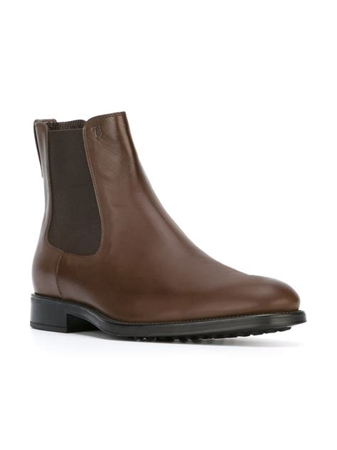 tod s chelsea ankle boots in brown for lyst