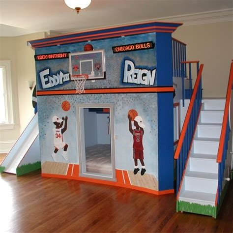 boys loft beds basketball stadium double loft bed boys beds pinterest