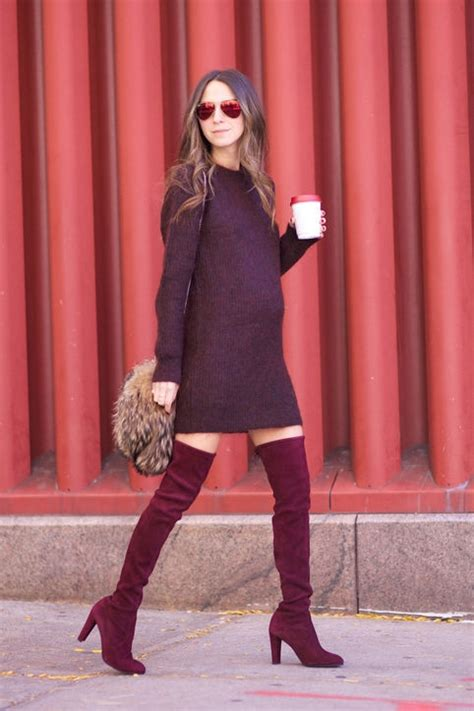 something navy all moroon thigh high boots and a sweater
