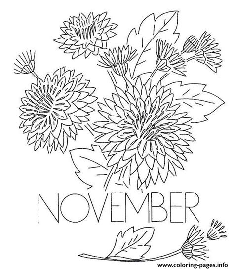 november chrysanthemum flower coloring pages printable