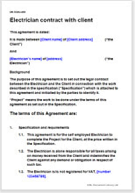 Plumbing Contract Sle by Electrician Terms Conditions Template Contract For