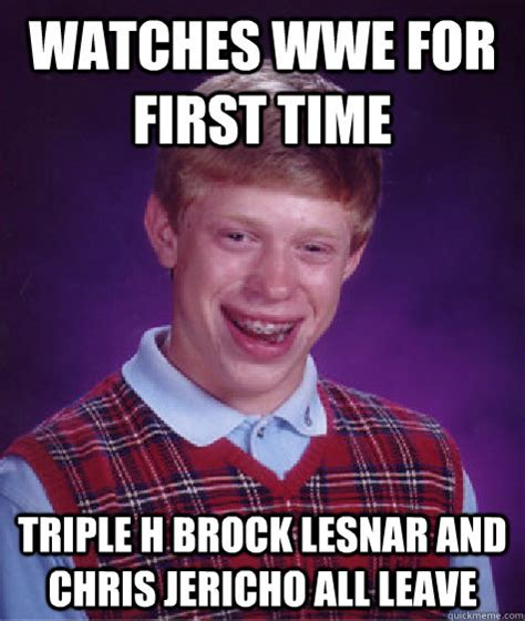 Brock Lesnar Meme - watches wwe for first time triple h brock lesnar and chris