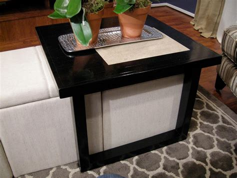 what to put on a coffee table build a coffee table to fit over storage ottomans hgtv