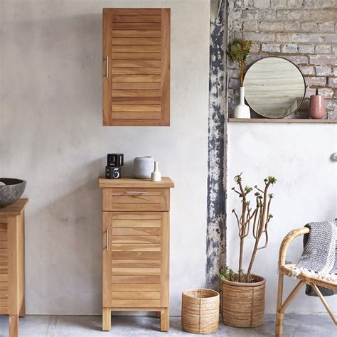 Wood Bathroom Storage Tikamoon Solid Acacia Wood Bathroom Cabinet Tower Storage 2 Drawers Vanity Ebay