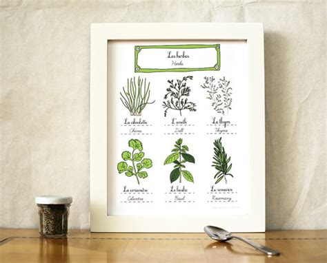 home decor gifts for mom herbs kitchen art 8x10 art print green home decor eco