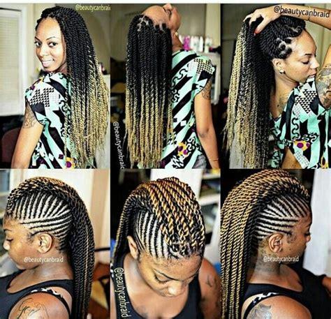 stright back long mohokes long twists mohawk style beautiful braids