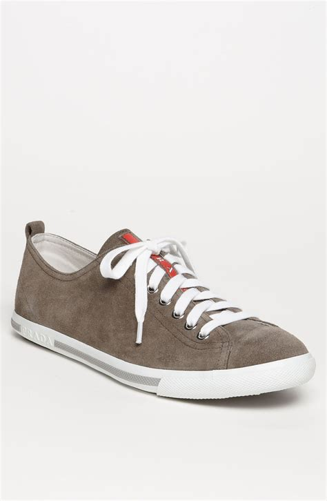low profile sneakers prada low profile suede sneaker in brown for gray lyst