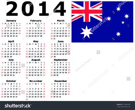 calendar 2014 template australia 2014 calendar flag australia stock vector 122462935