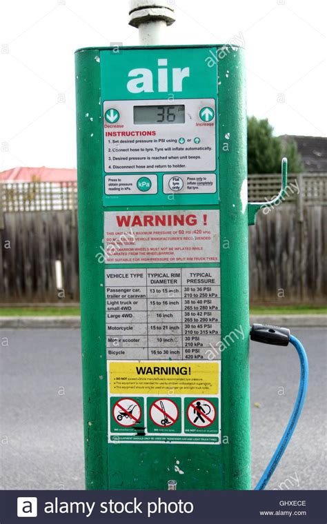 Pressure Australia air pressure hose at bp petrol station in melbourne
