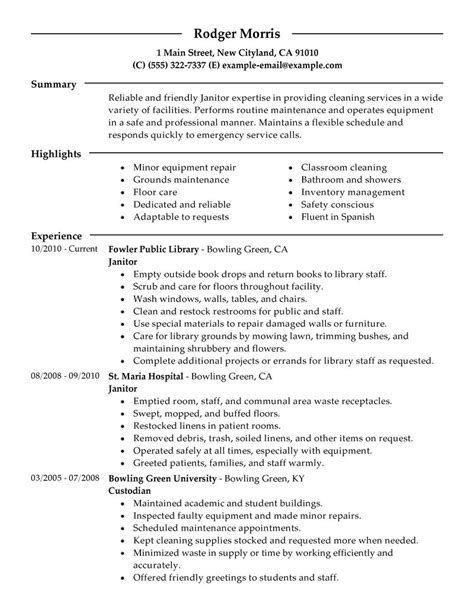 Resume Sles Janitorial Maintenance Janitorial Resume Exles Maintenance Janitorial Resume Sles Livecareer