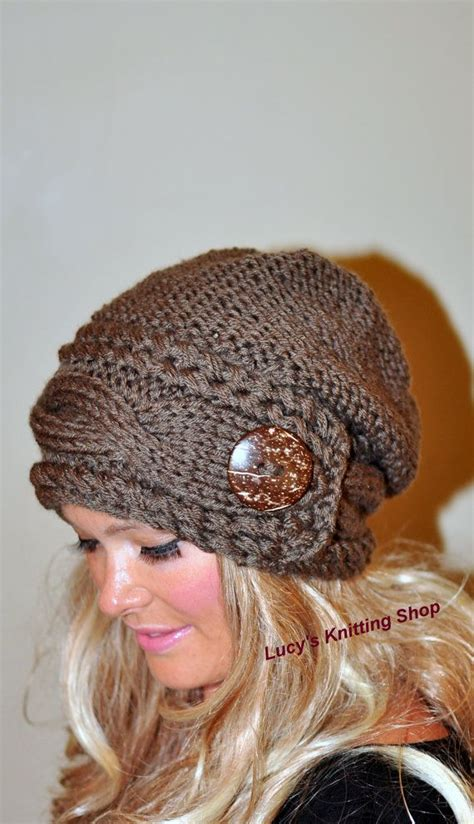 slouchy knit beanie slouchy hat slouchy beanie cable button hat knit
