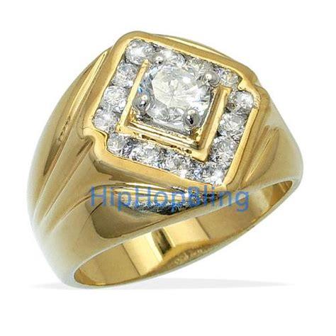king cz gold plated mens hip hop ring premium cz