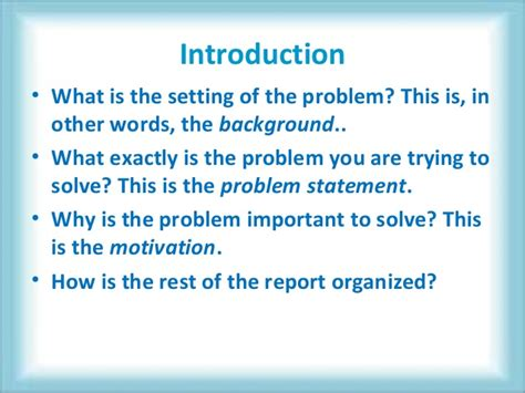 How To Write A Background Report by How To Write A Project Report