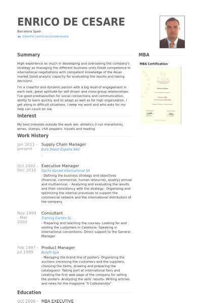 Resume Format For Mba Logistics Supply Chain Manager Resume Sles Visualcv Resume Sles Database