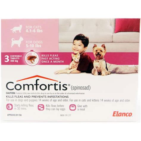 comfortis for dogs 5 10 lbs comfortis 140mg for cats 4 1 6 lbs dogs 5 10 lbs 3 pack pink vetdepot