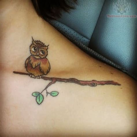 owl tattoo sayings owl sit on branch tattoo on collarbone