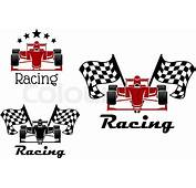 Motor Racing Sporting Symbols And Icons Of Red Black