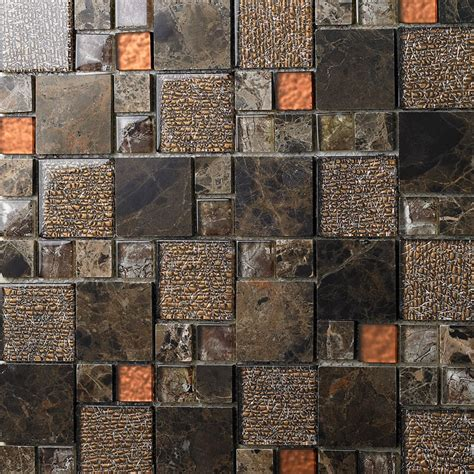 stone and glass mosaic sheets square tiles emperador dark