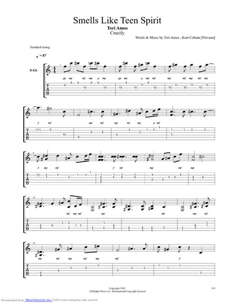 that smell and notes smells like teen spirit guitar pro tab by tori amos musicnoteslib com