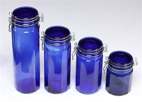 cobalt blue glass canister set of 4 nos graduated szs air