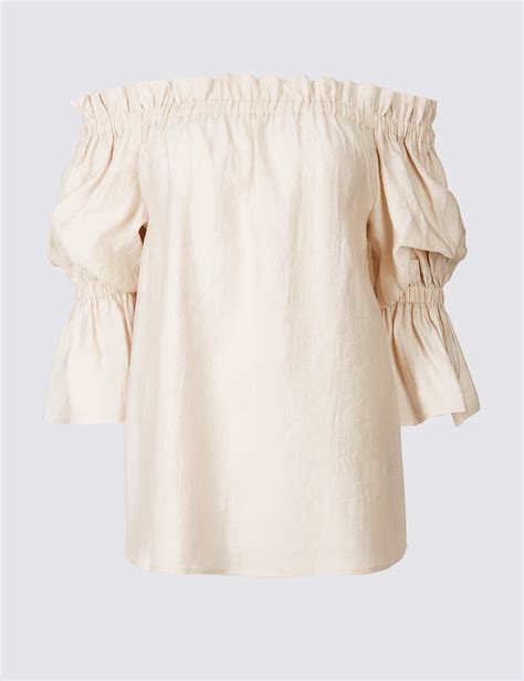3 4 Sleeve Ruffle Blouse ruffle 3 4 sleeve bardot blouse endource