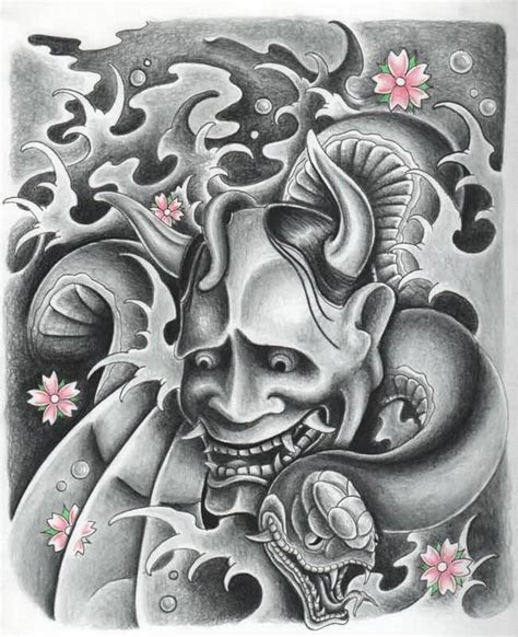 hanya tattoo designs 11 hannya mask tattoos on half sleeve