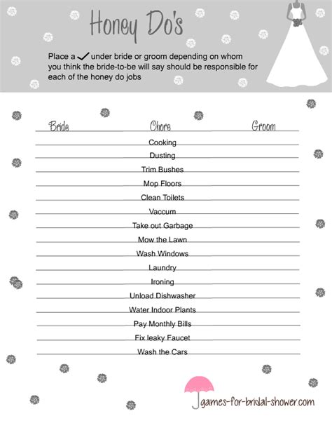 Black And White Printable Bridal Shower Games | free printable honey do s game for bridal shower